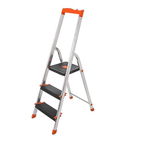 SONGMICS Leiter mit 3 Stufen, Aluleiter, 12 cm breite Stufen mit Riffelung, Anti-Rutsch-Füße, mit Handlauf und Werkzeugschale, max. Belastbarkeit 150 kg, vom TÜV Rheinland geprüft, Silber GLT03BK