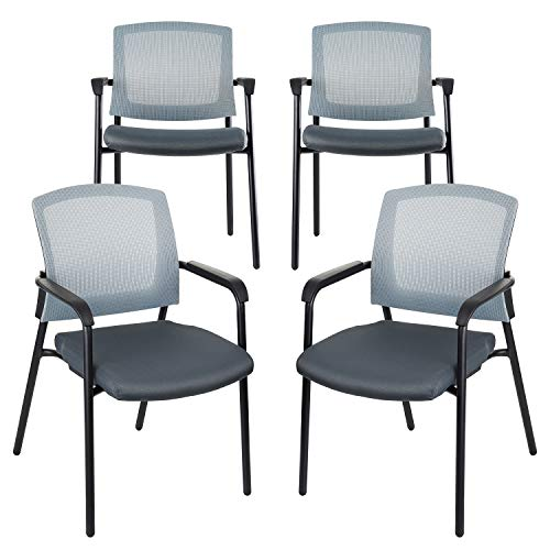 CLATINA Office Reception Guest Chair Mesh Back Stacking with Ergonomic Lumbar Support and Thickened Seat Cushion for Waiting Conference Room Gray 4 Pack
