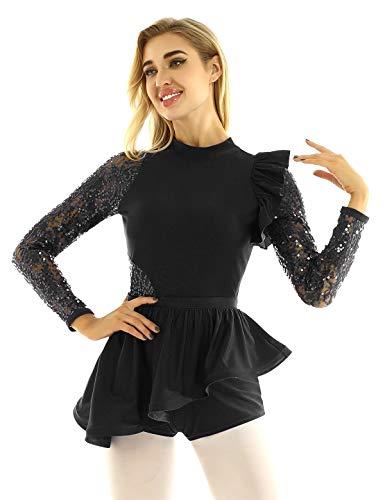 YiZYiF Maillot Gimnasia Rítmica Competición Mujer Vestido Patinaje Artístico Manga Volante Lentejuelas Vestido Bailarina Danza Leotardo Ballet Traje Actuación Negro Large