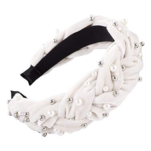 MIRRAY Rockabilly Haarband Art Und Weisefrauen Samt, Der Borten Hairband Haar Kopf Band SüßEs Stirnband BöRdelt Bequem Weiß