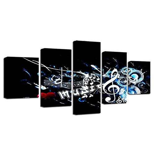Cyalla Modulare Leinwand Wandkunst Poster Für Wohnzimmer 5 Stücke Rockmusik Malerei Wohnkultur Hd Drucke Musiknote Bilder Rahmen Drucke Auf Leinwand 200X100Cm