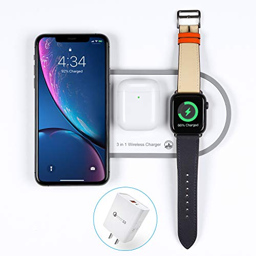 2020 Upgraded Wireless Charger 3 in 1 Wireless Charging Pad Fast Apple Charge Dock Station for Air Pods Pro 1 2 iWatch Series1 2 3 4 5 iPhonePro 11 8 8 Plus X Xr Xs Max with QC 3.0 Adapter