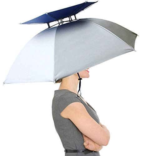 """RedSwing 37"""" Diameter Large Umbrella Hat for Adults and Kids, Hands Free UV Protection Head Umbrella Double Layer for Fishing, Gardening, Beach and Golf, Silver 1 Pack"""