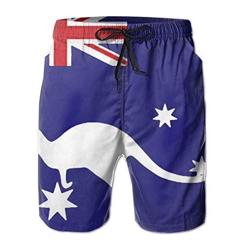 Men's Beach Shorts Quick Dry Australian Flag Kangaroo Swim Trunks Swimwear Beach Board Shorts White