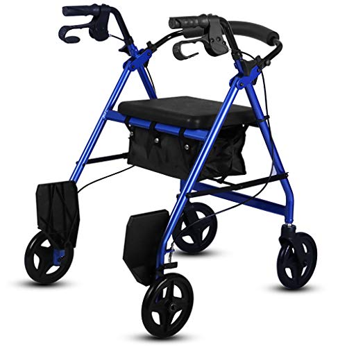 B-fengliu Silla de Ruedas Rollator Ancianos Walker Trolley Old Walking Frame (Color : Blue)