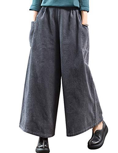 Youlee Donna Inverno Vita Elastica Corduroy Pantaloni Pantaloni a Gamba Larga Style 1 Deep Grey