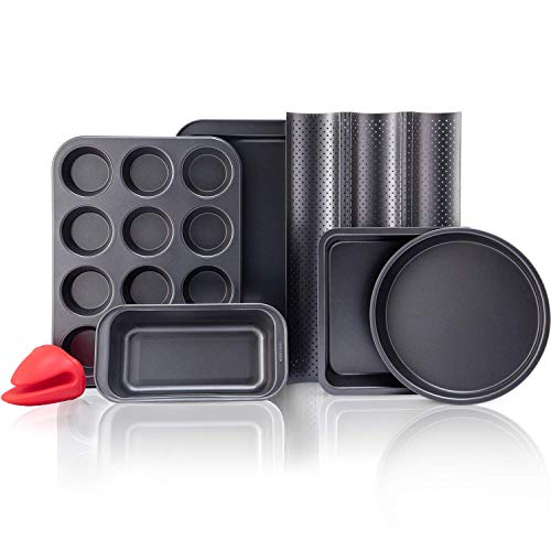 Baking Pans Sets Nonstick Bakeware Set with Round Cake Pan Square Cake Pan Loaf Pan Cup Muffin Pan Baguette Pan Cookie Sheet amp Silicone Oven Mitts Carbon Steel Bake Set 7Piece