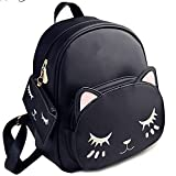 SLIKEE® Women Cute Small Catty Backpack With Pouch (SLI-NEW71, Black)