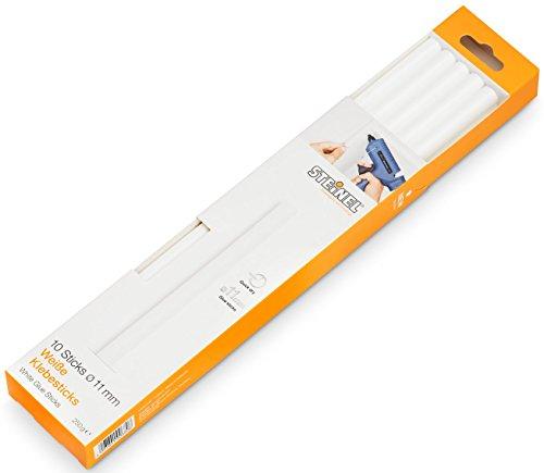 Steinel Weiße Klebesticks 11 mm, 10 Sticks, 250 g, universeller Schmelzkleber für weisse Materialien