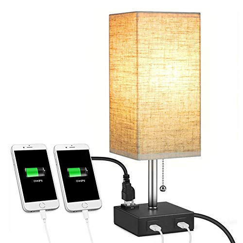 Cakunmik Table Lamp Simple Square Linen Bedside Lamp Led Night Light Thick and Stable Base with 2 USB Charging Ports Suitable for Bedroom and Living Room