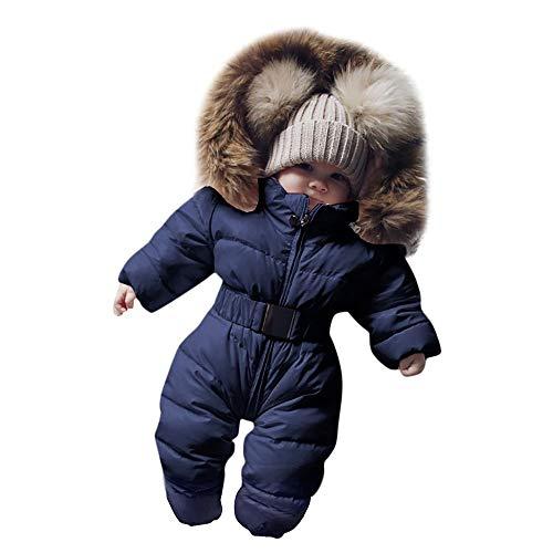 Tuta con cappuccio per neonati, ragazze, invernale, calda con cerniera, giacca a vento, con trapuntatura in finta pelliccia, tutina senza piedi, tutina da neve da 0 a 24 m Blu 18 Mesi