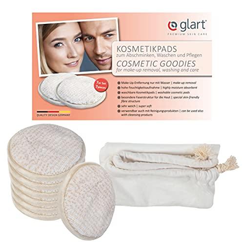 Glart 44AP - Discos desmaquillantes lavables con bolsa de lavado, 7 unidades, color beis y blanco