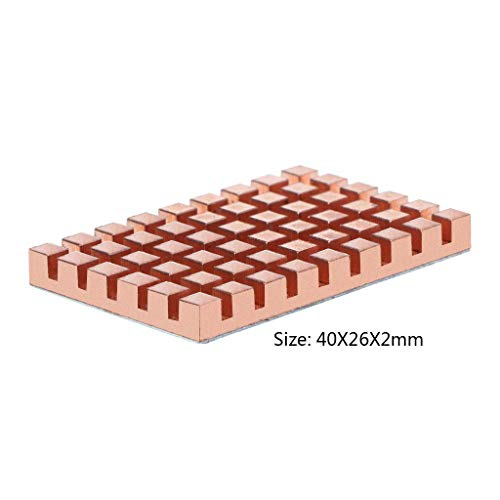 A FEI Copper Heatsink 40x26mm and 2/3/4mm Thermally Conductive Adhesive for MSATA NGFF 5030 Msata3.0 Solid State Disk SSD Radiator Cooler