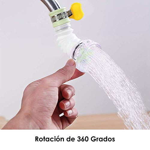 Lukovee Filtros para Llaves de Agua, Sistemas para Grifos Extensible Antisalpicaduras, Grifo Giratorio de 360°, Regulador Conector del...