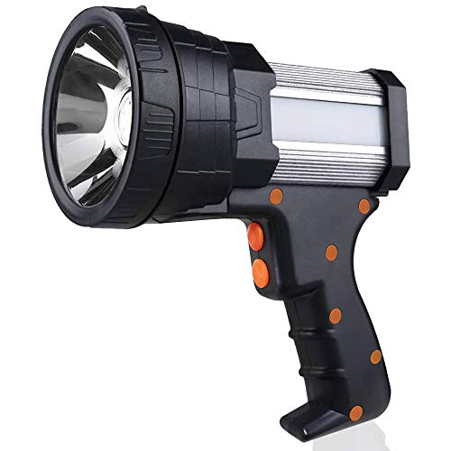 Super Bright Spotlight Rechargeable 6000 Lumen LED Flashlight Handheld Spotlight 10000mAh Rechargebale Spotlight Long Lasting Large Searchlight and Floodlight Camping Flashlight USB Output Charger