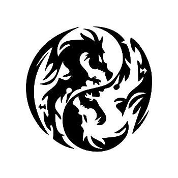 Dragon Yin Yang Tribal Sticker Laptop Window Car Truck Decal   Black   5.5