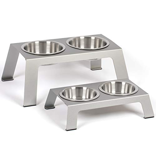 PetFusion Elevated Dog Bowls, Cat Bowls -- Premium Anodized...
