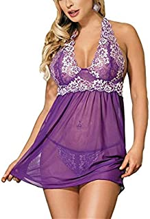 Large Size Sexy Lingerie Sexy Pajamas Lace Temptation Suspender Nightdress Underwear set (Color : Purple, Size : XXXXX-Large)