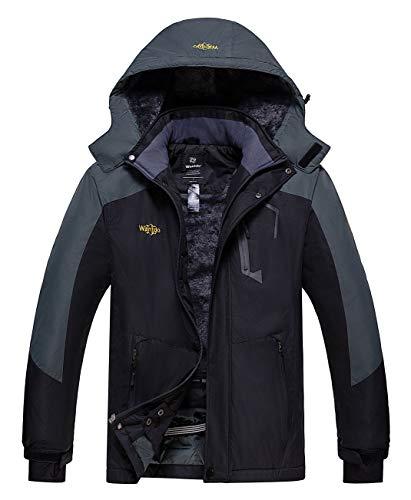 Wantdo Herren Winterjacke wasserdichte Snowboard Mantel Warmer Jacke Grau+Schwarz M