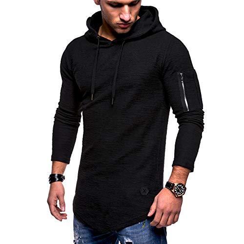 MRULIC Herren Kapuzenpullover Mittlere Saison Tops Oberbekleidung Pulli Warme Pullover Streetwear RH-012(Schwarz,EU-44/CN-M)