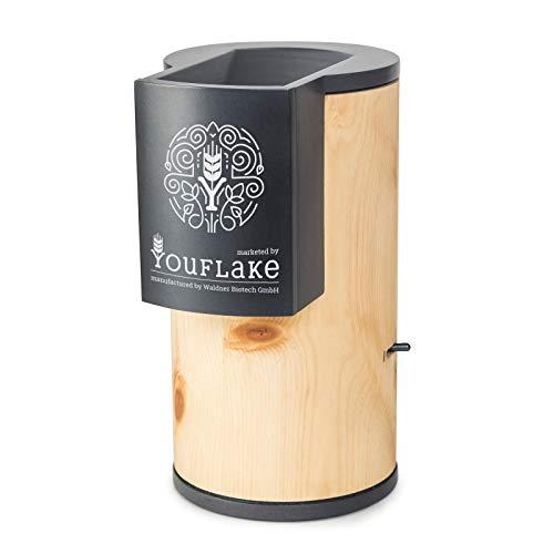 YouFlake MuesliMachine Zirbe | elektrische Flockenquetsche | hergestellt als Waldner Lisa Zirbe | Zirbenholz hell | Edelstahl