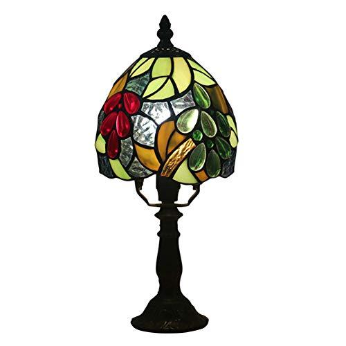GYLNAI Tiffany lampen, 6 Zoll Kleines Buntglas Grape Schreibtisch Tischlampe Beleuchtung 13 Zoll Höhe für Couchtisch Wohnzimmer Schlafzimmer TFN-13
