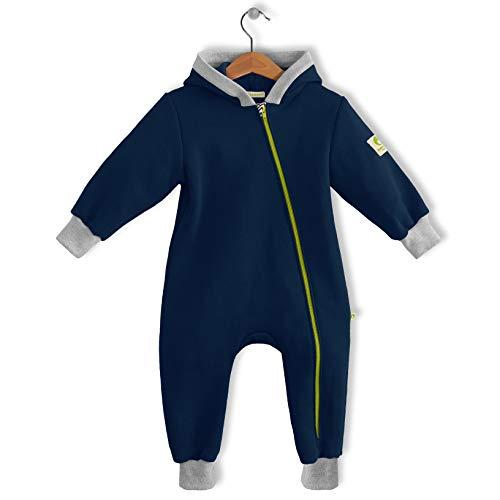 bubble.kid berlin - Made in Germany - Unisex Baby Mädchen Jungen Ganzjahres Anzug Overall Einteiler Jumpsuit Onepiece – weicher Sweatshirt, RV-Schutz (74-80, Tinte)