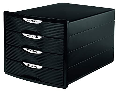 HAN Cajonera MONITOR – Diseño innovador y atractivo de la más alta calidad, con 4 cajones cerrados para DIN A4/C4, caja de almacenamiento disponible exclusivamente en Amazon, color negro, 1001-13