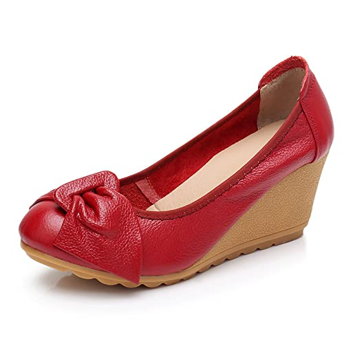 TuyoHao Womens Business Wedge Pumps Heel Shoes Comfortable Slip on with Bows Mother of Brige Shoes for Wedding Office Business (Red,4)