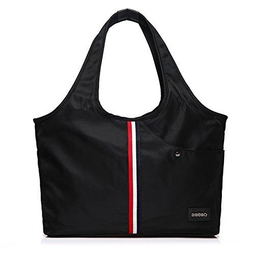 Hiigoo Women's Nylon Oxford Handbags Shoulder Bags Travel Bag Casual Totes Purses (Black 2#)
