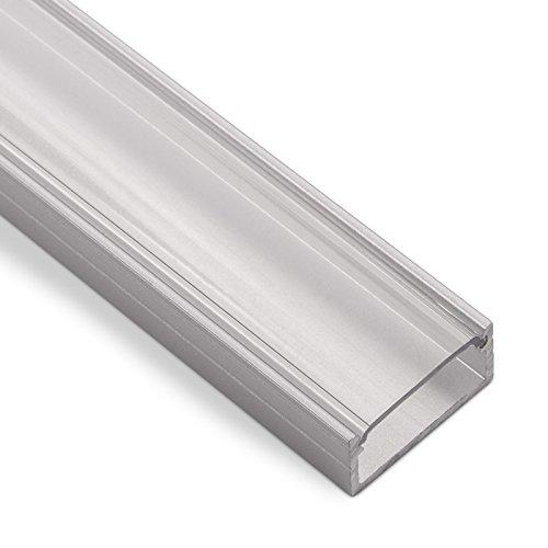 LED Aufbau-Profil-PH1 (2000 x 18 x 8,5 mm) für breite LED Stripes bis 16 mm (z.B. für Philips Hue LightStrip) Aufbauprofil mit klarer Abdeckung SO-TECH®