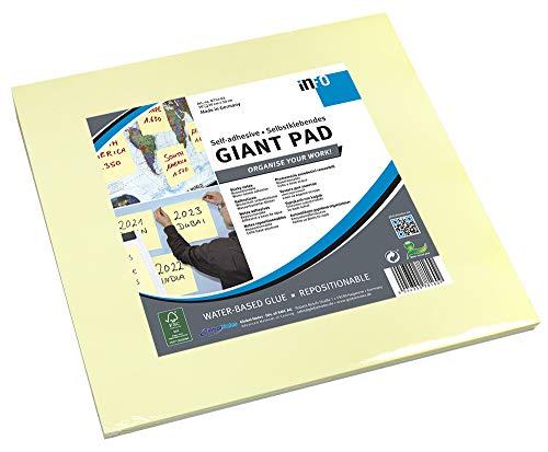 Global Notes 8754-01 Info Creative - Notas autoadhesivas gigantes (300 x 300 mm, 50 hojas), color amarillo