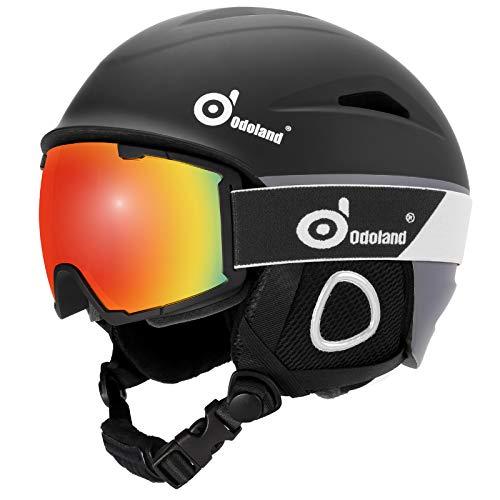 Odoland Skihelm und Skibrille Set Neue Snowboardhelm mit Snowboardbrille für Damen und Herren Jugend Ski Goggles UV 400 Schutz Windwiderstand Snowboard Brille zum Skifahren und Bergsteigen Schwarz L