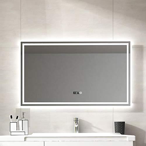 Duschdeluxe LED Spiegel Badspiegel Beleuchtung 100 x 60 cm Badezimmerspiegel Lichtspiegel Wandspiegel nergieeffizienzklasse A ++ mit Touch Schalter + Digitaluhr, IP44 Energiesparend, kaltweiß