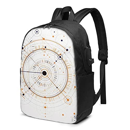 Laptop Rucksack Business Rucksack für 17 Zoll Laptop, Maschinenbau Geometrie Schulrucksack Mit USB Port für Arbeit Wandern Reisen Camping, für Herren Damen