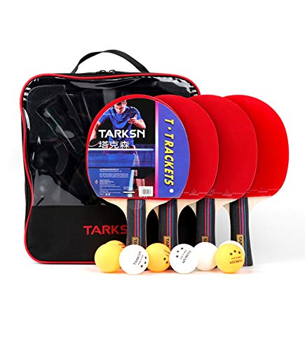 Best Deals! ODORKI Table Tennis Paddle Set - 4 Paddles and 8 Balls,Includes Convenient Portable Draw...
