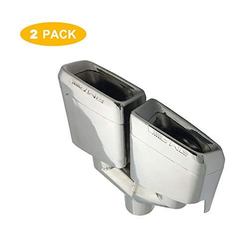 Super-ZS 2 × Auto Schalldämpfer Silber Vierkantmündung Doppelauslass Auspuff modifiziert Heckhals (geeignet für Mercedes-Benz W204 / C-Klasse / W212 / E-Klasse/AMG / C63 / E63)