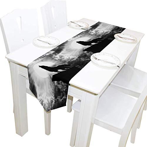 BONRI Dekorationen 13x90 Zoll Lange Tischläufer Tier Wild Wolf Moon Print dekorative Polyester Tischläufer Tablelcoth für Zuhause Kaffee Küche Esstisch Party Bankett Urlaub Dekoration