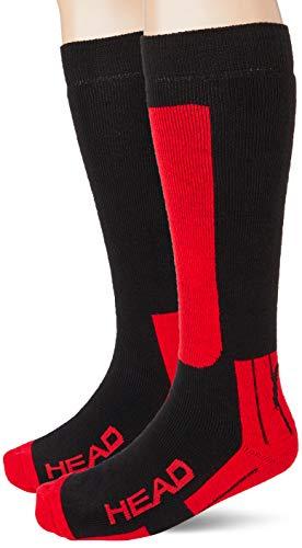 Head Kneehigh Ski Socks (2 Pack) Calcetines de esquí, Negro/Rojo, 39/42 (Pack de 2) Unisex Adulto