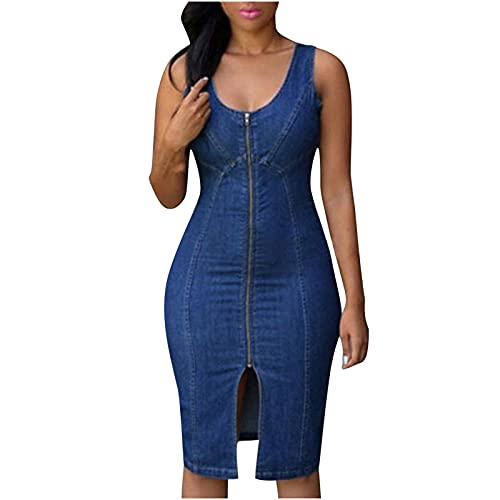 Denim Dress Women's Denim Casual Dress Slim Zip Mini Dress Solid Color Split Fork Denim Short Dress Knee Length Dress