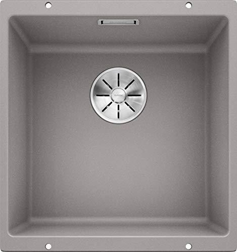 BLANCO SUBLINE 400-U – Fregadero de Granito para Armarios Bajos de 50 cm de Ancho – Bajo Encimera – De SILGRANIT – Gris – 523424
