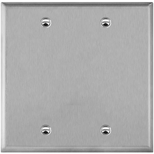 ENERLITES Blank Device Stainless Steel Wall Plate, Metal Corrosive Resistant Cover for Unused Outlets Light Switches Holes, Size 2-Gang 4.50' x 4.57', 7702, 430, UL Listed, Silver