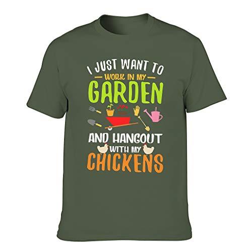 Camiseta de cuello redondo para hombre con texto en alemán 'Arbeit in Mein Garten Hang Out con gallinas' verde militar XXXXL