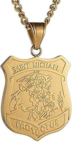 banbeitaotao Collar Michael El Arcángel Medalla Católica Amuleto de Acero Inoxidable Colgante Collar Colgante Tamaño 4X3Cm Cadena 22 + 2 Pulgadas Extensión de Cadena