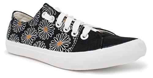 Daisy Flower Sneakers | Cute Fun Pretty Art Gym Daisey Tennis Shoe - Women Men - (Lowtop, US Men's 5, US Women's 7) Black