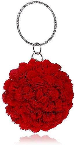 Collar de Moda para Mujer Bolso de la Novia del Bolso Bolsos de Noche roja Noche Europea y de la Moda Estadounidense diámetro esférico 12CM Mujeres Nobles Izar