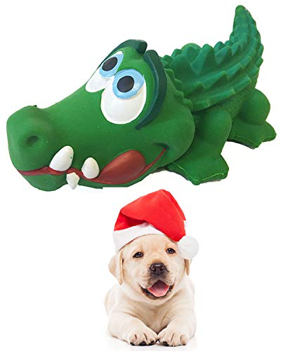 Crocodile Sensory Dog Toy Natural Rubber (Latex), Lead-Free & Chemical-Free, Complies to Same Safety Standards as Children's Toys, Soft & Squeak (Medium)