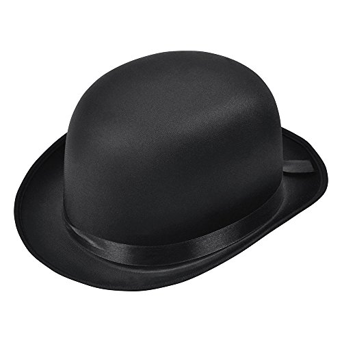 Bristol Novelty BH493 Bowler Hat Black Satin Finish, Unisex-Adult, One Siz