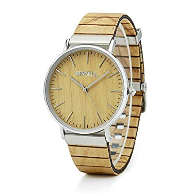 Amazon - Save 60%: BEWELL Wood Watch Men Women Simple Minimalist Leather Wooden Strap Da…