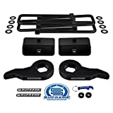 Supreme Suspensions - Full Lift Kit for 1999-2007 Chevrolet Silverado and GMC Sierra 1500 4WD Adjustable 1' - 3' Front Lift Steel Max-Torsion Keys + 2' Rear Lift Blocks + Square Bend U-Bolts (Black)